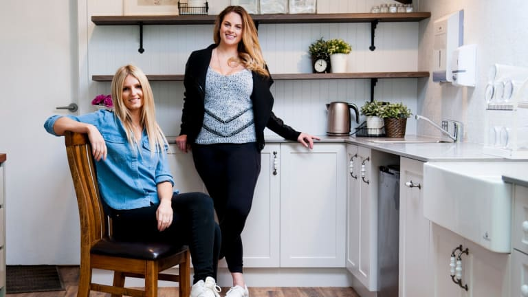 Canberra's dessetr queen Ali King (seated) with business partner Emilie Rohan. The pair have joined forces in a new business Ali King: Desserts, Cakes, Events