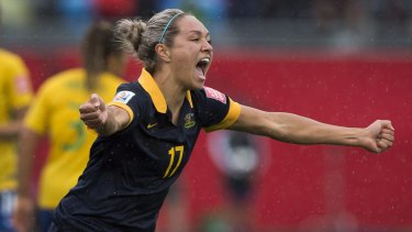 Progress: Kyah Simon and the Matildas may sson be able to be full-time professionals.