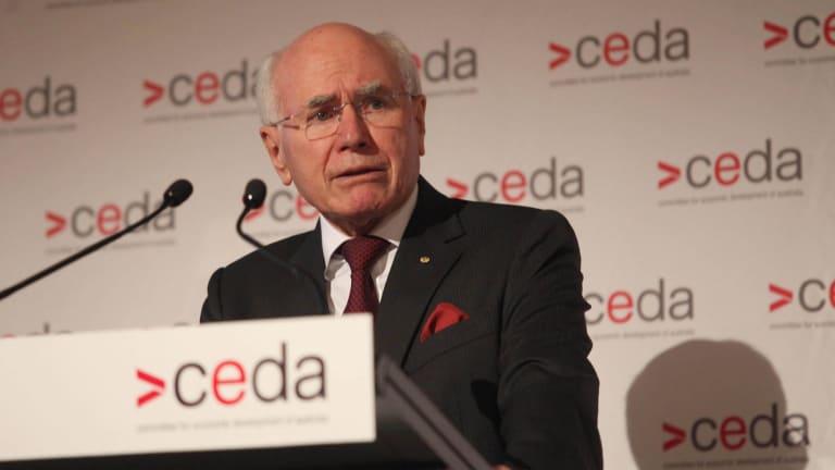 Forme prime minister John Howard speaking at the CEDA lunch.