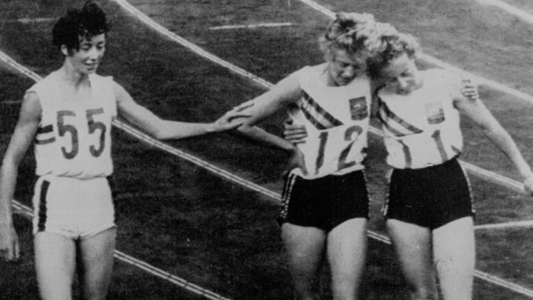 Betty Cuthbert after winning the 400 metres at the Tokyo Olympics.