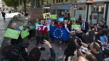 Plaid Cymru leader Leanne Wood and former Scottish first minister Alex Salmond MP attend a rally at the Aneurin Bevan statue on Queen Street, Cardiff as they make a case for Wales and Scotland's place within the EU.