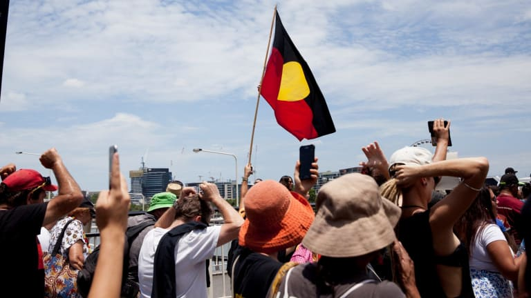The gathering outside Parliament House was followed by a march through the city streets to Musgrave Park in South Bank.