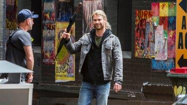 Chris Hemsworth during the shoot for Thor: Ragnarok in Brisbane.