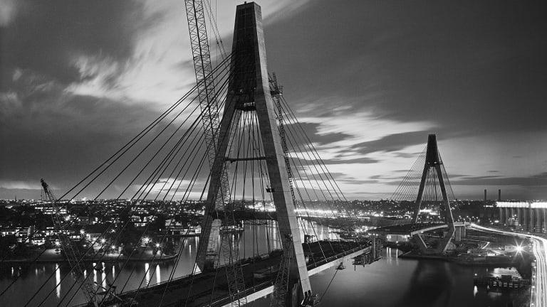 Labour of love: The ANZAC Bridge under construction.