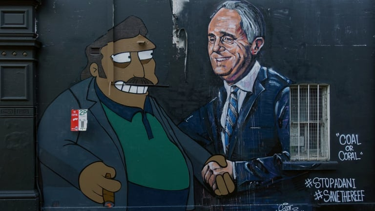 A mural of Adani and Turnbull by artist Scott Marsh in Chippendale, Sydney.