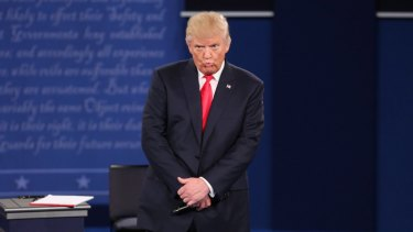 Donald Trump listens to a question during the second presidential debate.