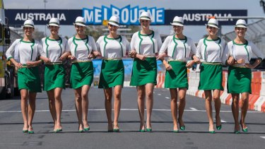 The Australian Grand Prix Grid Girls pose for a photo in 2015.