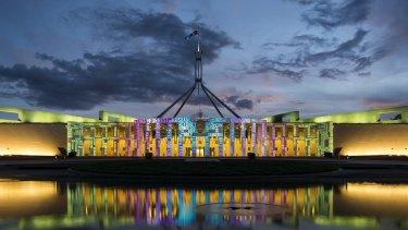 Parliament House lit up for Enlighten.