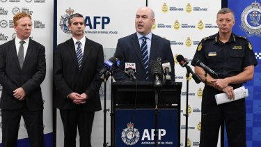 From left, Australian Criminal Intelligence Commission state manager Warren Gray, NSW Police Detective Superintendent Scott Cook, AFP Detective Acting Superintendent Luke Needham and Australian Border Force commander Tim Fitzgerald announce the bust.