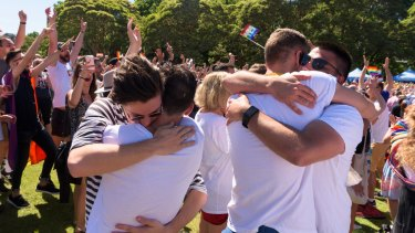 Celebrations at Prince Alfred Park in Surry Hills on Wednesday morning.