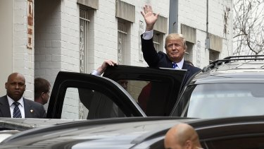 Republican presidential candidate Donald Trump in Washington on Thursday, after a meeting with the Republican National Committee.