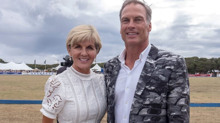 Foreign Minister Julie Bishop with her partner, David Panton, at the Alfa Romeo Portsea Polo on Saturday.