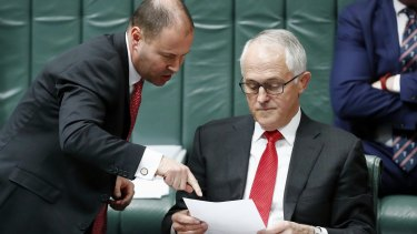 Josh Frydenberg and Malcolm Turnbull in Parliament on Tuesday.
