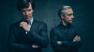 Benedict Cumberbatch and Martin Freeman as Sherlock Holmes and Dr Watson.