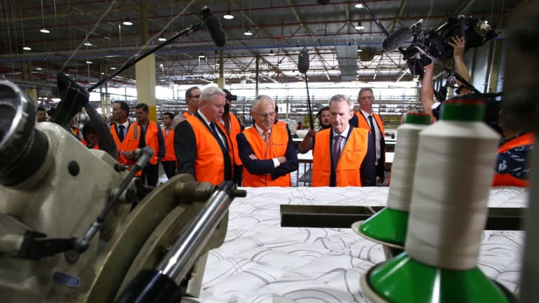 Prime Minister Malcolm Turnbull visited the A.H. Beard mattress factory in Bankstown.