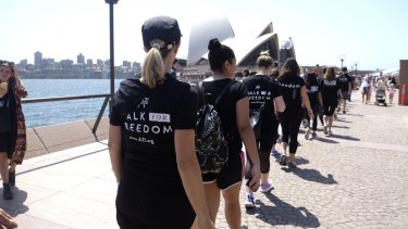 The Walk for Freedom - here pictured in 2015 - will march in single file from St Mary's Cathedral Square on Saturday.