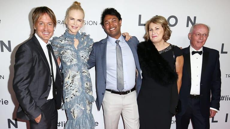 Keith Urban, Nicole Kidman, Saroo Brierley, Sue Brierley and John Brierley at the Australian premiere of <i>Lion</i> in Sydney.