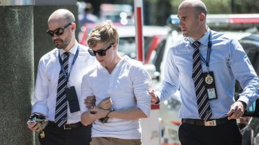 Tiahleigh Palmer's foster brother Joshua Thorburn arrives at Logan police station on Tuesday.