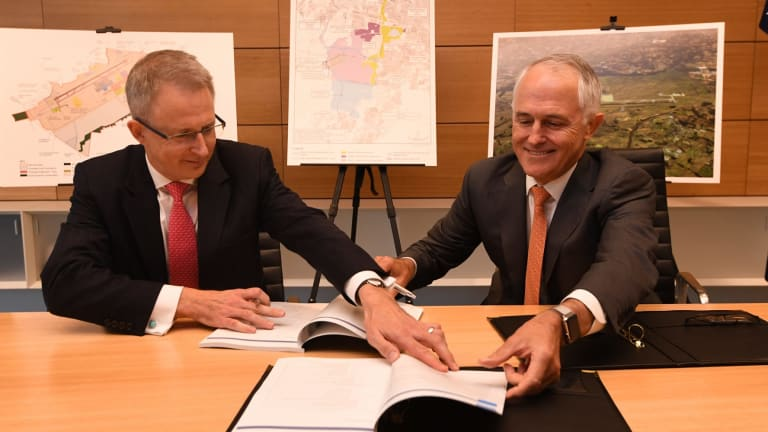 Paul Fletcher and Malcolm Turnbull with the new airport plan earlier this month.