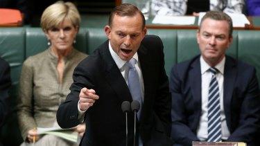 On the attack: Prime Minister Tony Abbott in Parliament on Tuesday.