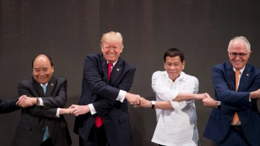 """Got it: The group finally completed their """"ASEAN-way handshake""""."""