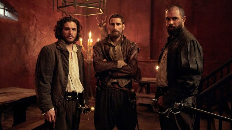 Gunpowder featuring Robert Catesby (Kit Harington), Thomas Wintour (Edward Holcroft) and Guy Fawkes (Tom Cullen).