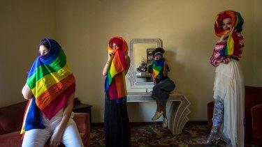 Zali Ghelardini, Kalida Edwards, Maya Weiss and Mable Syrup model the rainbow hijabs they will wear for the Sydney Gay Mardi Gras.