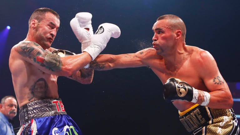 Dominant: Mundine stopped the fight at the end of the second round with a flurry of punches.