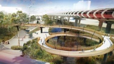 Flemington Bridge station and cycle spiral.