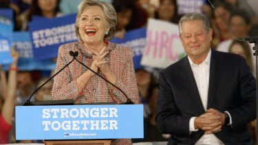 Democratic presidential candidate Hillary Clinton, is joined at a rally with former vice-president Al Gore in Florida.