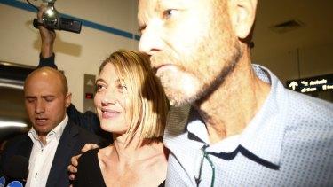 Tara Brown and Stephen Rice arrive at Sydney International Airport after the Beirut saga.