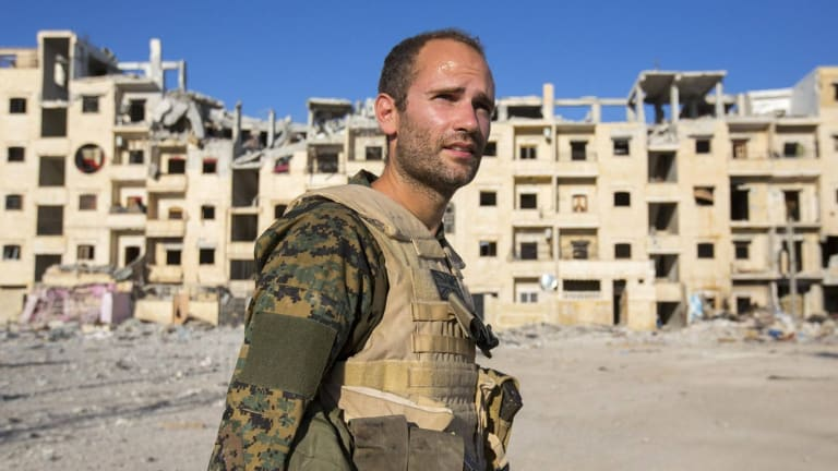 Macer Gifford (a pseudonym), a British man who has fought with the Kurds against Islamic State, pictured in Syria.