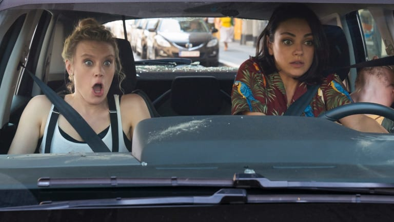 Kate McKinnon (left) and Mila Kunis have a rough ride in The Spy Who Dumped Me.