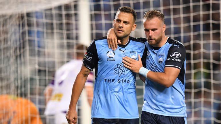 No mistake: Bobo celebrates his goal from the spot with Jordy Buijs.