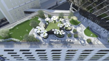 An artist's impression of the Loft Cafe and roof garden at the new Victorian Comprehensive Cancer Centre in Parkville.