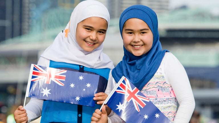 The billboard featuring two Muslim Australian girls was removed  in Melbourne following complaints from some constituents.