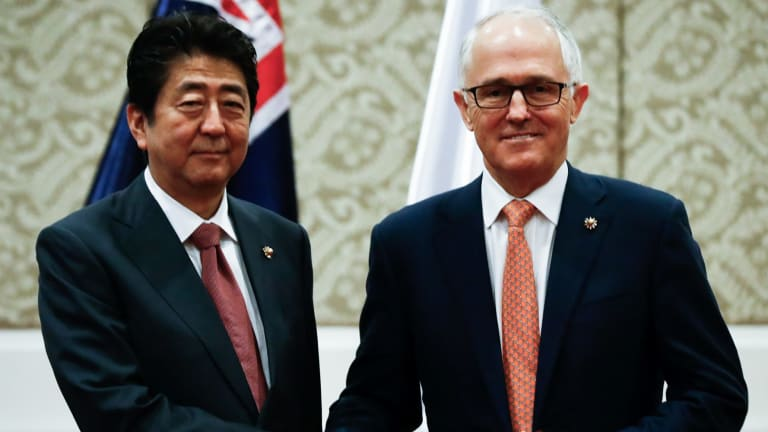 Australian Prime Minister Malcolm Turnbull and  Japanese Prime Minister Shinzo Abe during a bilateral meeting at the ASEAN summit in Manila in November 2017.