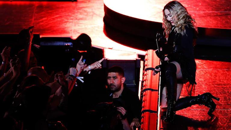 Madonna speaks to the Sydney crowd.