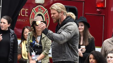 Hollywood actor Chris Hemsworth acts a scene during the filming of the movie <i>Thor: Ragnarok</i> in Brisbane.