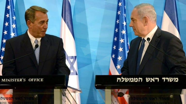 Israel Prime Minister Benjamin Netanyahu with US House Speaker John Boehner in Jerusalem.