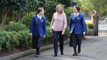 Staying put (from left): Loreto Normanhurst  boarder captain Clodagh Bray, director of boarding Kate Kovacs and weekly boarder Jayda Gursel.