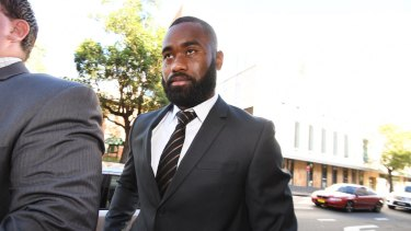 Parramatta Eels NRL star Semi Radradra arrives at Parramatta Local Court for the hearing into allegations he bashed his girlfriend.