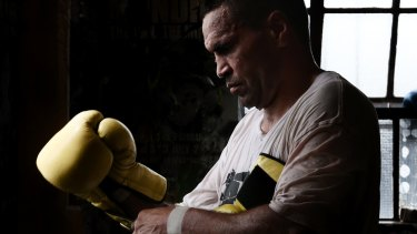 End of an are: Anthony Mundine training at his father's gym in December.