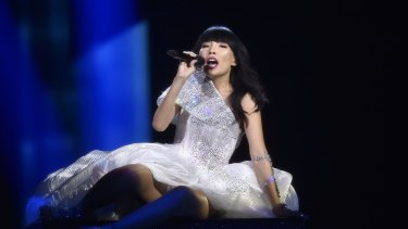 Australia's Dami Im performs the song 'Sound Of Silence' during the Eurovision Song Contest final in Stockholm