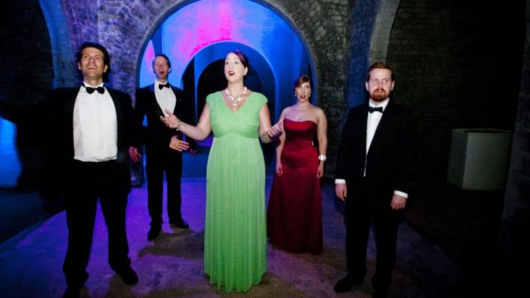 An Opera performed underground at the Spring Hill Reservoir, featuring from left: Mattias Lower, Jon Maskell, Clarissa Foulcher, Ashleigh Maclaine and Brendan Murtagh.