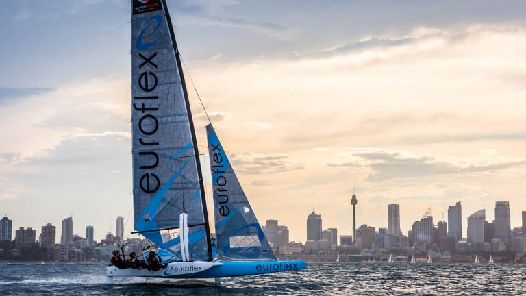 Speed to burn: Euroflex and its crew practice on Sydney Harbour.