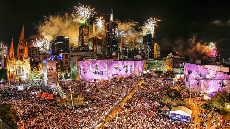 The midnight fireworks display, seen from Federation Square in Melbourne.