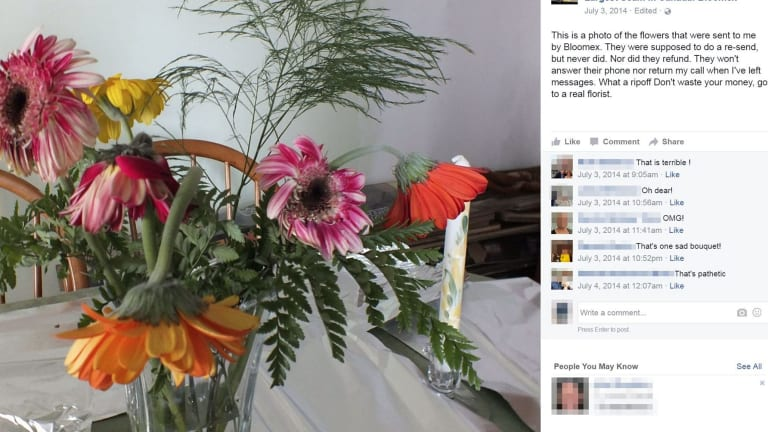 Bloomex customers complain on Facebook about shoddy flowers.