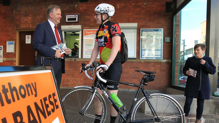 Anthony Albanese campaigning at Summer Hill Railway Station.