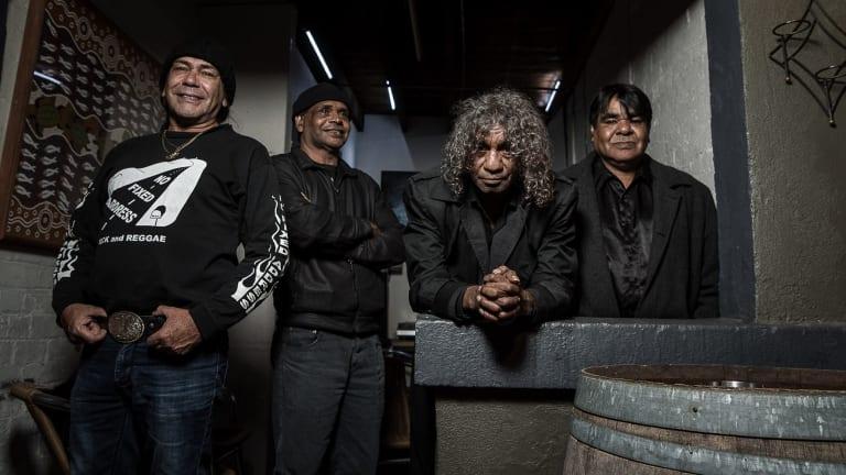 No Fixed Address' original band members, Les Graham Lovegrove (guitar, vocals) , Ricky Harrison (guitar, vocals), Bart Willoughby (drums, vocals) and John John Miller (bass).
